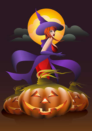 Witch and three magic pumpkins ready for Halloween Party Illustration