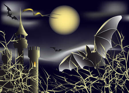 bats turn in the night sky under the full moon against the old castle