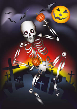 The human skeleton dances with maracas made of a pumpkin against a cemetery on sunset waiting for a Halloween