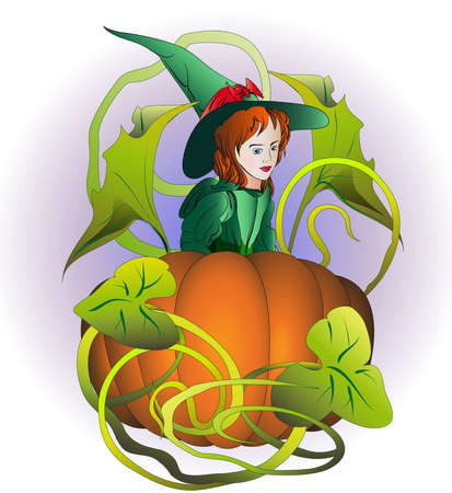 little witch in medieval clothes looks at huge orange pumpkin in the field Illustration