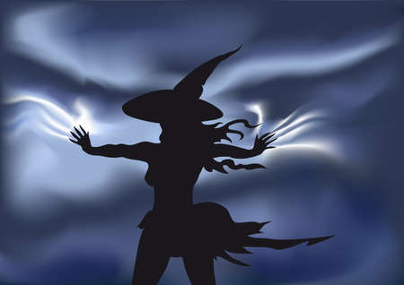 the young witch during a thunder-storm  staying in the field and making sorcery Illustration