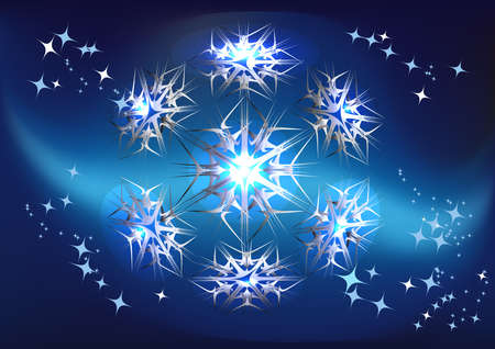 geometrical object in the form of a snowflake against far space and blazing stars