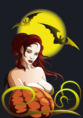 witch with pumpkin against black sky and bats