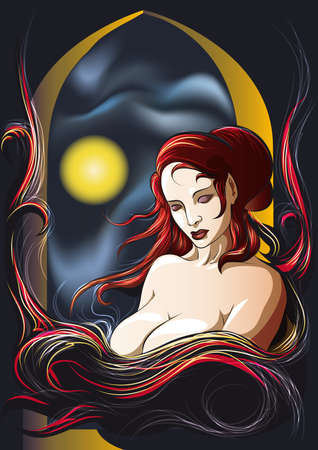 the young witch with a flowing long hair sits at castle window  in a moonlight Vector