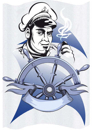 The old seaman in a sailor cap stands behind a hand-wheel and smokes