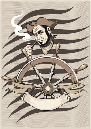 The old seaman in a cocked hat and neckcloth stands behind a hand-wheel and smokes Stock Vector - 15527501