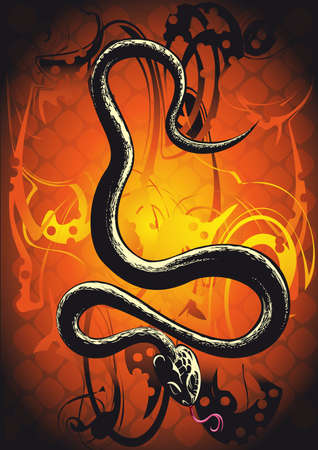 Black snake in front of orange background Illustration