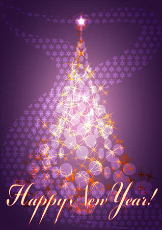 pine tree with shining stars in front of abstract purple background