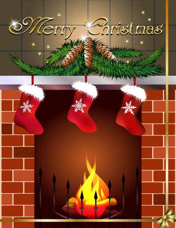 botas de navidad: tarjeta con chimenea y botas de navidad Vectores