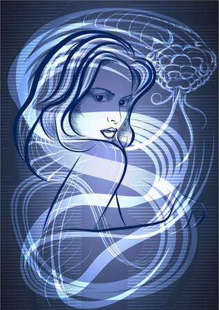 The young woman against contour of snake on dark blue background Illustration