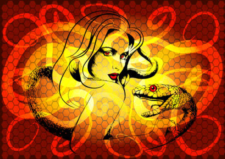 snakeskin: The young woman with a snake against snakes contours and snakeskin red background Illustration