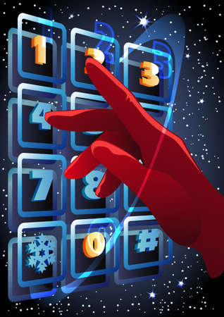 The hand in red glove pressing the buttons with figures 2013 on the sky panel against snowing background Stock Vector - 16727445