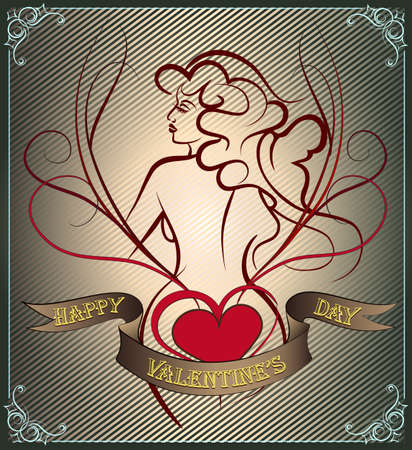 Valentines day Greeting card with heart and woman body drawn in tattoo style