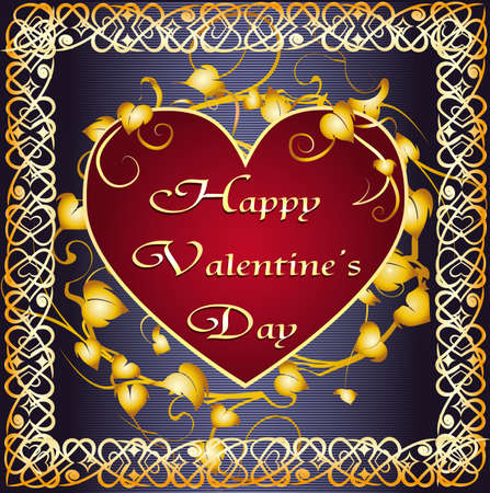 Valentine's day Greeting card with a pillow in shape of heart against floral ornament and a frame drawn in Celtic style Stock Vector - 17195335