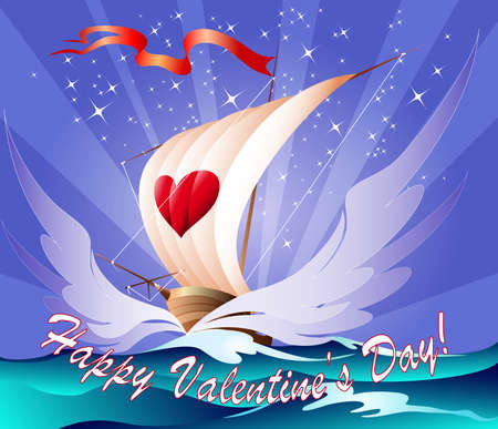 The toy ship with heart on a sail floats towards to love Stock Photo - 17335565