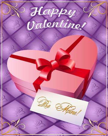 Valentines day Greeting card with a gift box in shape of heart and the letter from the lover photo