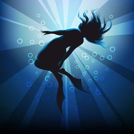 the girl in flippers floating in sun rays against  blue sea background with bubbles Vector