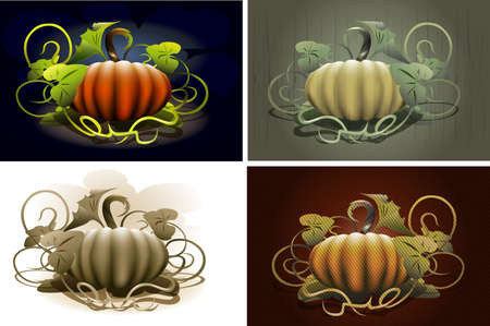 Halloween pumpkin set contains four pumpkin images drawn in different styles Stock Vector - 18517218