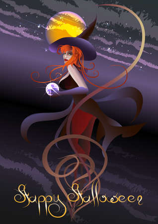 clairvoyance: Halloween greeting card with the witch with a crystal ball against dark night sky