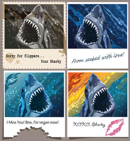 set contains four postcards with shark and funny messages drawn in various styles