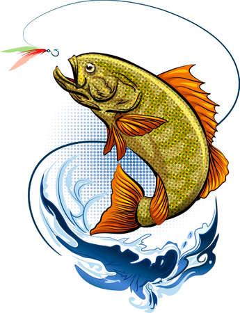 catch: Big Fish � saltare fuori dall'acqua dopo un gancio con piuma esca Vettoriali