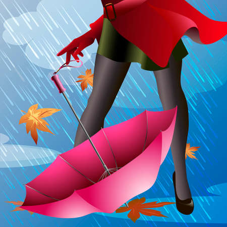 Illustration with pink umbrella and part of woman body, dressed in red raincoat and stockings, against autumn rainy day   Illustration