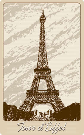Post card with Eiffel tower drawn in vintage style Vector