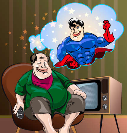 Funny illustration of  homebody Fat Man, who see himself as  hero in own dreams, drawn in cartoon style