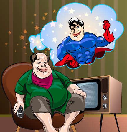 fat man: Ilustraci�n divertida del hombre casero Fat Man, que se ve a s� mismo como h�roe en sue�os, dibujado en el estilo de dibujos animados Vectores