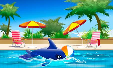 siesta: Illustrazione della balena del giocattolo e palla che galleggia nella piscina dell'hotel durante il tempo di siesta davanti agli alberi tropicali e cielo blu chiaro Vettoriali