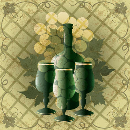 Illustration with three goblets and bottle of old wine against grape ornament background  drawn in vintage style