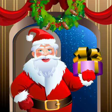 Illustration with smiling Santa Claus who comes into the house with a Christmas gift drawn in cartoon style