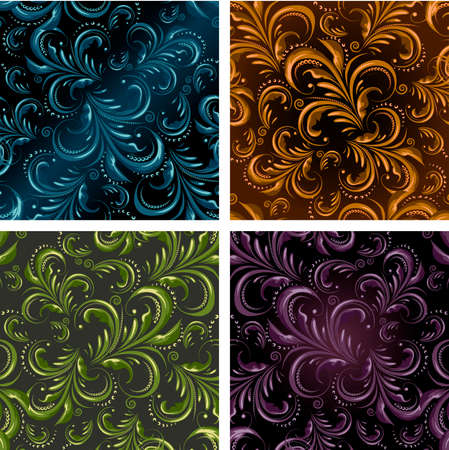 Set of floral seamless patterns drawn in fore different color variations. Each variation contains pattern and separated background