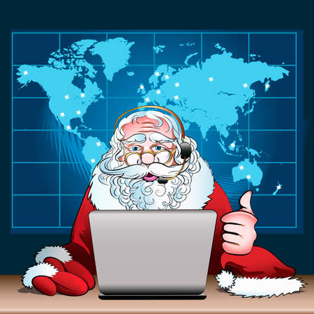 duty: Illustration with  Santa Claus on duty who sits in Christmas head office drawn in cartoon style Illustration