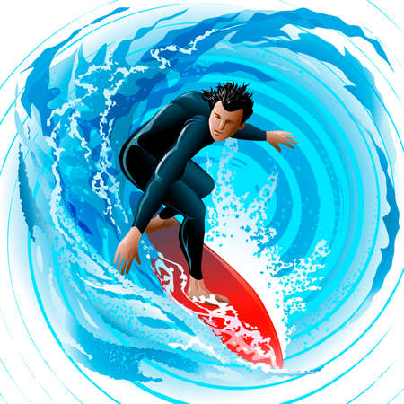 Illustration with young man sliding on a surf board on water surface against huge waves