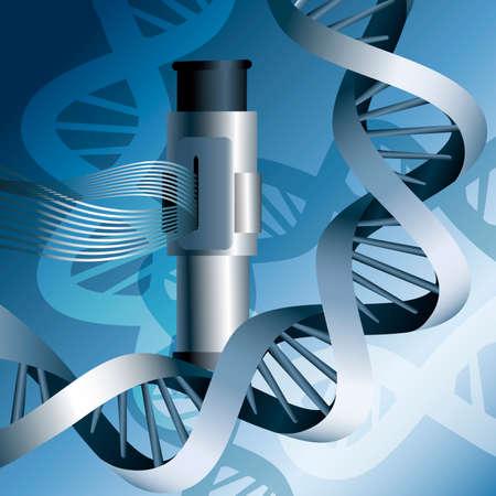 Illustratie met DNA helixen en elektronenmicroscoop tegen blauwe achtergrond Stock Illustratie