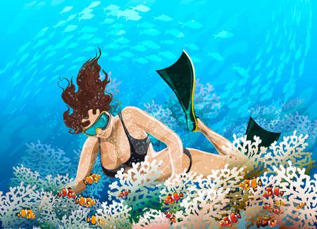 Illustration with  young girl in flippers floating over coral reef against  blue sea background  Illustration
