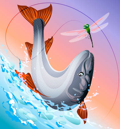 Illustration with red salmon  jumping  out of the water to a hook with dragonfly bait against early morning sky Illustration