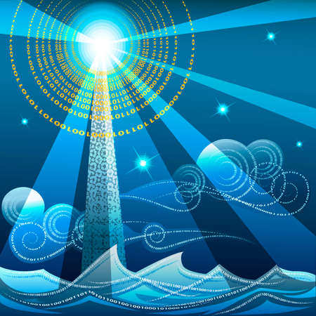 Illustration with lighthouse against midnight seascape drawn in techno style with use  numbers of binary code