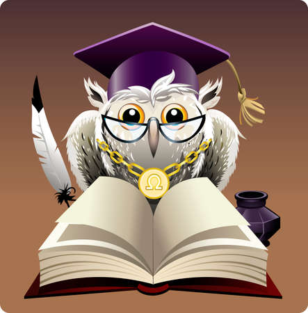 Illustration with wise owl in bachelor hat sitting behind a book drawn in cartoon style