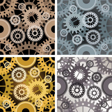 Set of four seamless gear patterns drawn in different color variations. Each variation contains separate background. Illustration