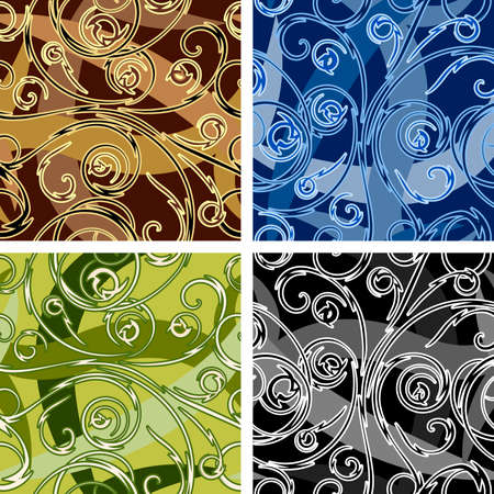 Set of four seamless swirl curve patterns drawn in different color variations. Each variation contains separate background.