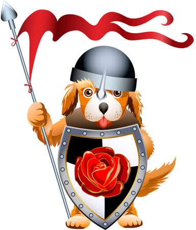 Grappige illustratie met kleine gember hondje die op wacht gekleed in ridder blijft kleren met grote schild en speer