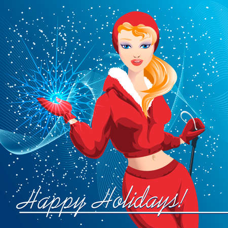 Illustration with  blonde beauty in ski costume with snowflake in her hand against snowy blue background