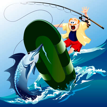 Funny illustration with scared unlucky fisherman jumping out of boat under attack of the huge swordfish Vector