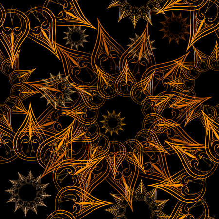 Seamless star pattern with stars against black background drawn in hand made style