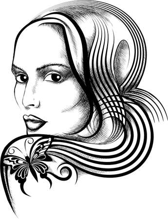 Illustration with young woman face and butterfly tattoo on her shoulder drawn in handmade ink style.
