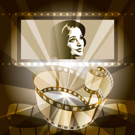 Illustration with celluloid and female face on the screen against rays of cinema projector drawn in vintage style using sepia color scheme Vettoriali