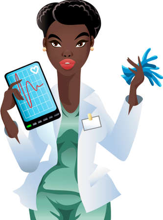 busty: Illustration with talking young doctor with tablet and sterile gloves in her hands Illustration
