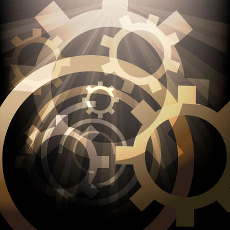 Illustration with lighted up gears drawn in abstract style